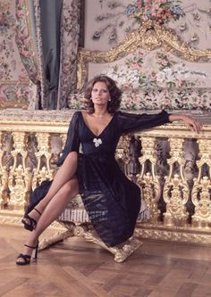 Loren posing in the Marie Antoinette bedroom in Versailles, Paris, 1976.