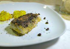 questo filetto di merluzzo in crosta di olive e lolla di riso, nasce dalla idea di insaporire un pesce bianco, versatile, ma neutro, a portata di tutti...
