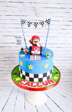 Super Mario Kart cake with bunting