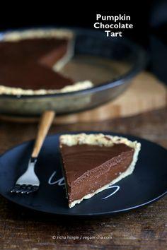 Vegan Chocolate Pumpkin Pie with Almond Crust For Pie Day