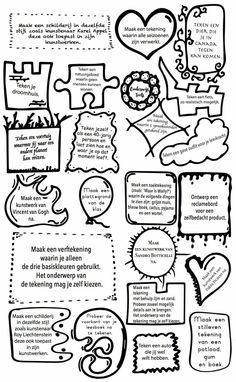 Tekenopdrachten voor de kinderen wanneer zij klaar zijn met hun werk, maar je kan ook een tekenopdracht kiezen en uitwerken voor een les beeldende vorming!