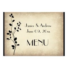Leafy Vine Wedding Menu Card