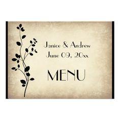Leafy Vine Wedding Menu Card