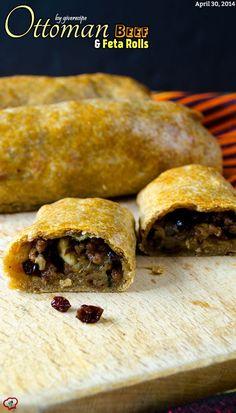 Ottoman Beef and Feta Rolls  giverecipe.com   #ottoman #feta #groundbeef #pinenuts #currants