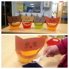 Feed the kitty activity; alter to incorporate various math skills, such as sorting shapes or colors