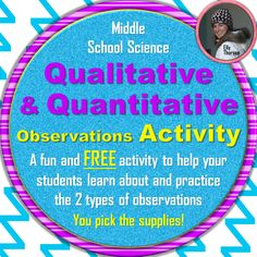 FREE, fun, and easy to use science activity that helps students practice qualitative and quantitative observations with the supplies of your choice Science Resources, Science Lessons, Science Activities, Life Science, Teaching Resources, Science Room, Science Ideas, Teaching Ideas, High School Biology