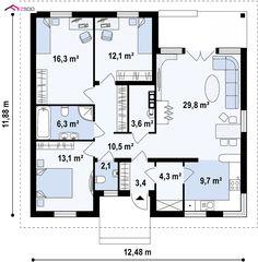 GL TL- to wyjątkowy dom z kategorii projekty domów z czterema pokojami Bungalow House Plans, Dream House Plans, Modern House Plans, Small House Plans, House Floor Plans, Floor Plan Sketch, House Construction Plan, Plans Architecture, Apartment Plans