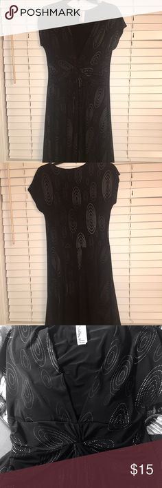 Classy & Sexy Black Dress Embellished Little Black Dress - can be worn for a fun night out or Holiday parties!  Very comfortable - 94% Polyester & 6% Spandex.  Chest measures 18 inches across, however, it does stretch more - 40 inches long.  Excellent Condition! Sushi Flower Dresses Midi