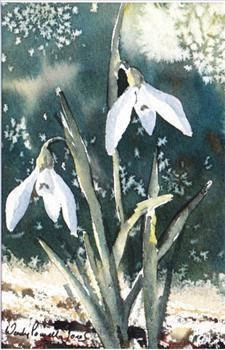 Hand Painted Card - snowdrops 2 by WendyPowellJonesArt on Etsy