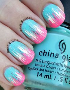 Metallic and Neon Nail Design.
