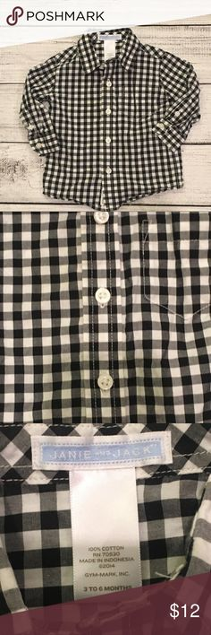 Janie and Jack Black and white plaid button down Janie and Jack Shirts & Tops Button Down Shirts
