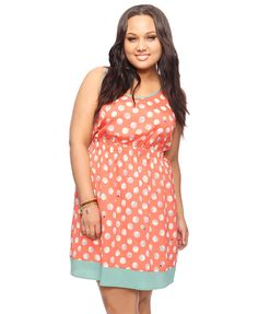 This dress is so stinkin' cute!  Love ladybugs and the coral color....From Forever 21's plus line.