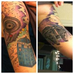Star Wars, Doctor Who, and Star Trek tattoo - half sleeve (as awesome as a space mash up can be...wait, where is Serenity?)