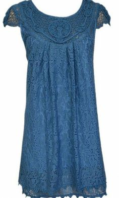 Pretty Angel Clothing Lace Baby Doll Tunic in blue or carmel