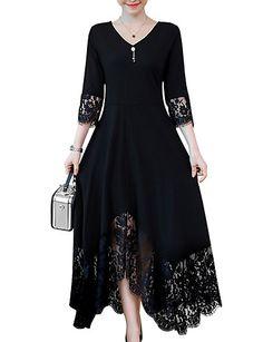 e258f937d1 [$19.52] Mulheres Tamanhos Grandes Evasê Vestido - Guarnição do laço,  Sólido Decote V Longo Preto