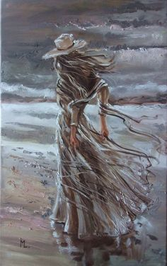 """ LADY IN GREY ... ""- SEA SAND liGHt ORIGINAL OIL PAINTING, GIFT, PALETTE KNIFE by Monika Luniak"