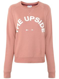 Rose cotton logo print sweatshirt from The Upside featuring a printed logo, a crew neck, long length raglan sleeves, an elasticated strap and ribbed trimming. The Upside, Cotton Logo, Printed Sweatshirts, Size Clothing, Crew Neck, Women Wear, Sleeves, Sweaters, Pink