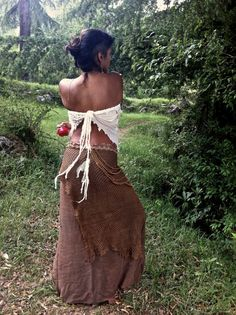 Brown Layered cotton Long skirt от PrimitiveTribalCraft на Etsy