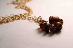 Faceted Amber and 14 K Gold Filled Necklace by QuietMind on Etsy, $85.00