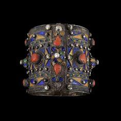 Algeria   Beni Yenni silver, enamel and coral hinge bracelet   ca. 19th century