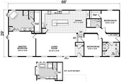 The Sheldon mobile home floor plan is a X 68 1972 sqft double-wide available for Sale in NE, CO, KS, ND, SD, WY, MN, IA & MO.