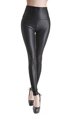 09f668fc1f Ostenx Leggings Femme Smili Cuir SexyPantalon 5 Couleurs Cuir Synthétique  Brillant CrayonDeguisement Grease Sexy - noir mat - Taille Medium