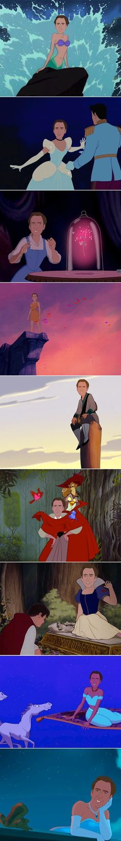 Nic Cage starring as the Disney princesses