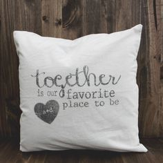 Together is Our Favorite Place To Be 16 x 16 Personalized Pillow Cover, couple, wedding gift, engagement gift, newlywed, wedding shower.