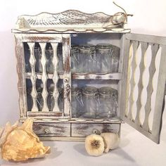 Vintage White Wooden Spice Rack With 12 New Spice by shabbyshores, $60.00 Holiday Gift Guide, Annie Sloan