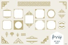 25 x Art Deco Gold Vector Elements by Fizzy Images on Creative Market