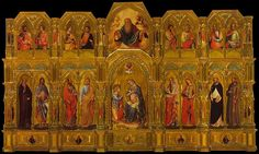 The polyptych was originally on the main altar of the demolished church of Sant'Antonio di Castello. The polyptych is named after the donor, Domenico Lion, depicted kneeling right to the Virgin. The size of the panels in the low register are 126 x 75 cm (centre), 121 x 60 cm (sides), while in the upper register 82 x 83 cm (centre), 67 x 60 (sides). The upper panel with God the Father is a replacement of the lost original.
