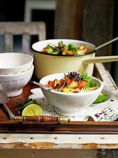 Laksa is a traditional soup from Malaysia, in this Christmas vegetable laksa recipe, Jamie Oliver adds a vegetarian festive twist to the mix. Veggie Recipes Healthy, Tasty Vegetarian Recipes, Vegetable Recipes, Vegan Food, Vegan Soups, Yummy Recipes, Soup Recipes, Healthy Food, Recipies