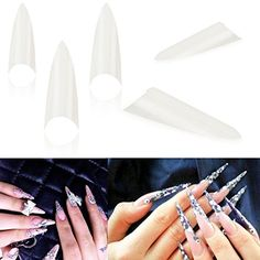 500PCS Point Stiletto Natural False Nail Tips Acrylic UV Gel French 10 Size >>> You can get additional details at the image link.