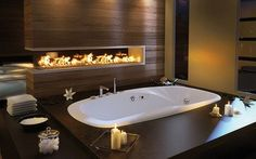 A Fireplace Next to the Bathtub | 27 Things That Definitely Belong In Your DreamHome