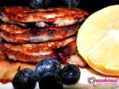 Blueberry Gluten free Panckaes! I love these yummy pancakes that are simply to die for!!  Visit my healthy living website - www.mannalicious.com.au !