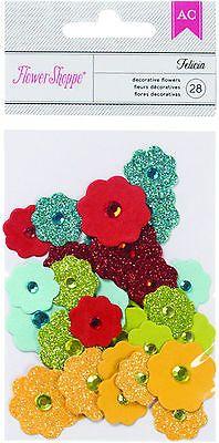 Flower Shoppe Flowers-FELICIA BRIGHTS (28) Glitter Paper Flowers w/Rhinestones