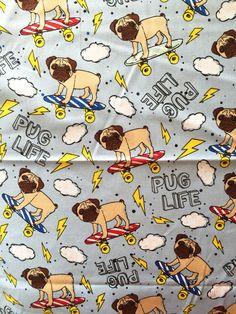 Pug Life Cotton Fabric. BTY. by JinsQualityFabric on Etsy