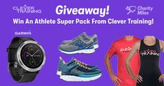 Garmin SmartWatch + Running Shoes + Shirt from Clever Training -- 2 Winners Fitness Tips, Fitness Motivation, Health Fitness, Friday Workout, Fit Board Workouts, Get Healthy, Charity, Giveaway, Clever