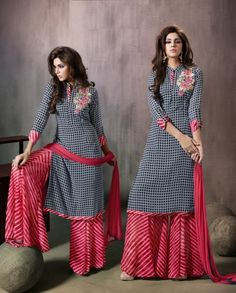 black-checkered-casual-wear-indian-palazzo-kamiz-suit-in-georgette-- great pattern combo --Black And Red Georgette palazzo suit Resham work on top Comes with a matching bottom and dupatta Can be stitched size upto 42 inchesBrilliant Lace Georgette Na Kurta Designs Women, Salwar Designs, Kurti Designs Party Wear, Pakistani Dresses, Indian Dresses, Indian Outfits, Dress Neck Designs, Blouse Designs, Indian Attire