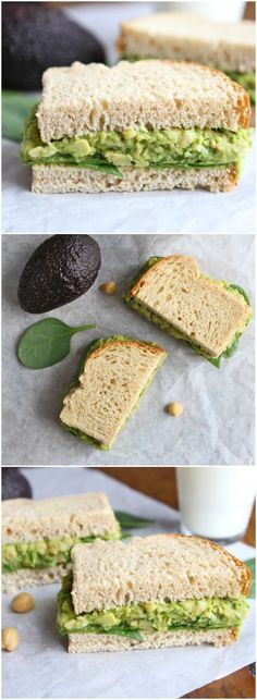 Smashed Chickpea Avocado Salad Sandwich is the perfect healthy lunch or dinner! This easy smashed chickpea salad can be eaten as a sandwich or served on greens, rice cakes, toast, or eaten as a dip with crackers or veggies! Think Food, I Love Food, Vegetarian Recipes, Healthy Recipes, Vegan Vegetarian, Snacks Recipes, Salad Recipes, Dinner Recipes, Whole Food Recipes
