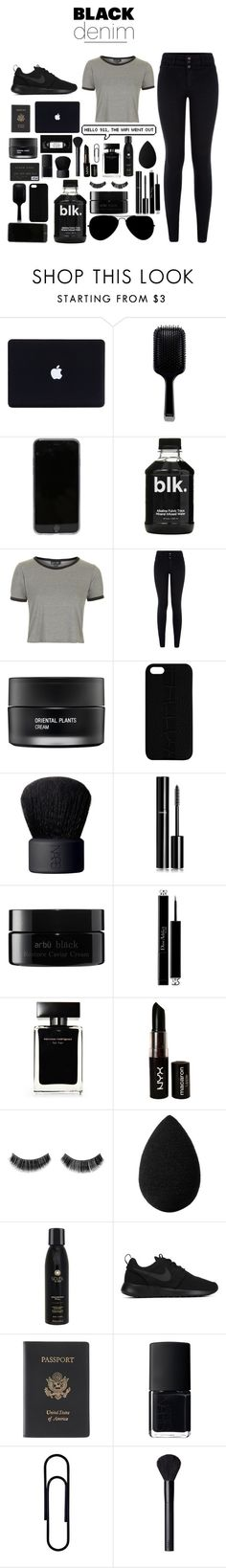 """""""Black Denim"""" by lydia-5459 ❤ liked on Polyvore featuring GHD, Topshop, New Look, Koh Gen Do, Maison Takuya, NARS Cosmetics, Chanel, arbÅ«, Christian Dior and Narciso Rodriguez"""