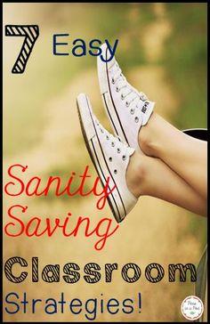 7 Easy Sanity Saving Behavior Management Strategies! Kindergarten - 6th http://peasinapodlessons.com/7-sanity-saving-behavior-management-strategies/