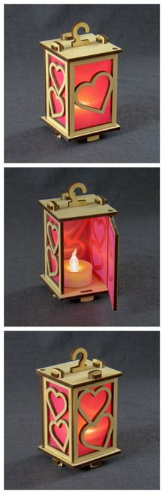 "Tiny lantern ""Hearts"", #lasercut birch ply with LED tea light."