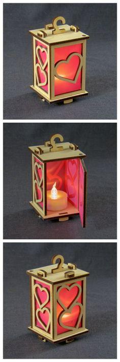 "Tiny lantern ""Hearts"", laser cut birch ply with LED tea light."