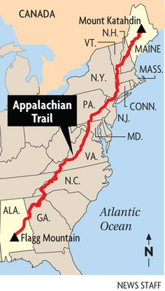 Interactive Appalachian Trail Map Provides Waypoints Resupply - Appalachian mountains on a us map