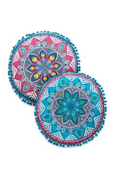 Blue And Pink Mandala Round Pom Cushion