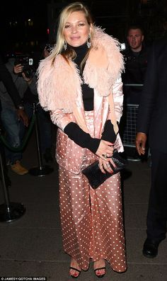 A-List: Kate Moss was also in attendance on the night, after opting for a pink, PJ-inspired two-piece and feathered shawl
