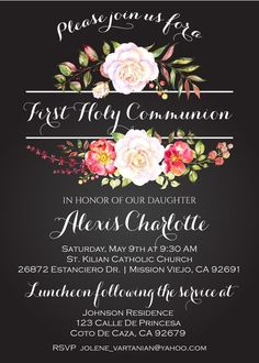 for First Communion Invitations Find a unique selection and digital printable files as well as printed invites for your child's ceremony. First Communion Party, First Holy Communion, Diy Invitations, Invitation Ideas, Holy Communion Invitations, Chalkboard Background, Bottle Labels, Watercolor Flowers, Printing Services