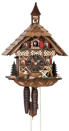 Cuckoo Clock Black Forest House Wood Chopper 1-Day Movement