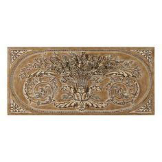 A detailed relief of a Parisian architectural find. Its hand finishing gives lightweight urethane an aged look. All finishes work beautifully indoors. Antique Gray and Wood finishes also suitable for outdoor use; Rubbed White with wood accents suitable for covered outdoor only.